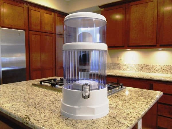 water filter on the counter