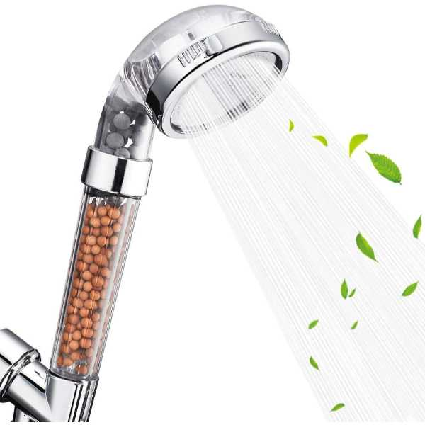 Eco friendly shower head with filter on a white background