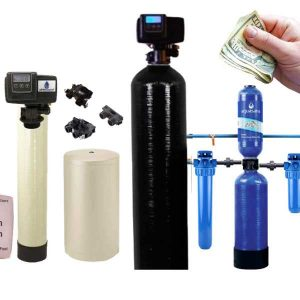 A hand with bills that costs water softeners