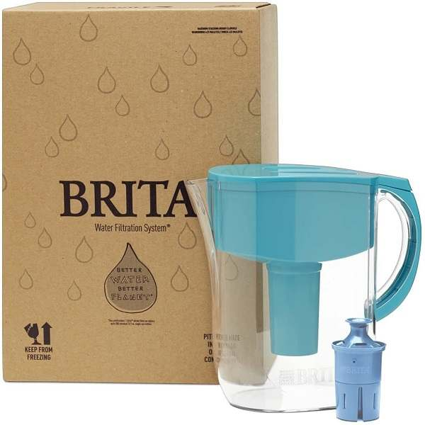 Brita water filter unboxed on a white surface