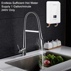 One of the best tankless electric water heater wall mounted beside a lavatory faucet