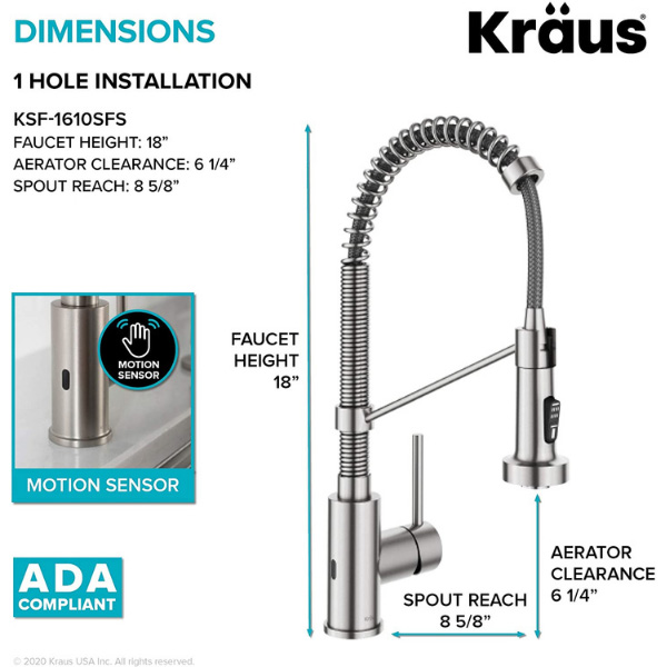 One hole installation tips written in the image for one of the best touchless kitchen faucets