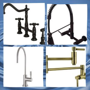 The Kingston brass faucets in a white frame