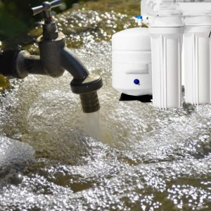 Arsenic water from a tap water faucet and a reverse osmosis filter
