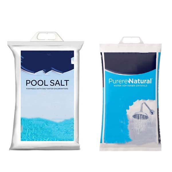 Bag of pool salt and a softener salt