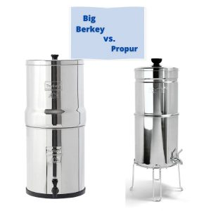 Big berkey and Propur water filters compared in a frame
