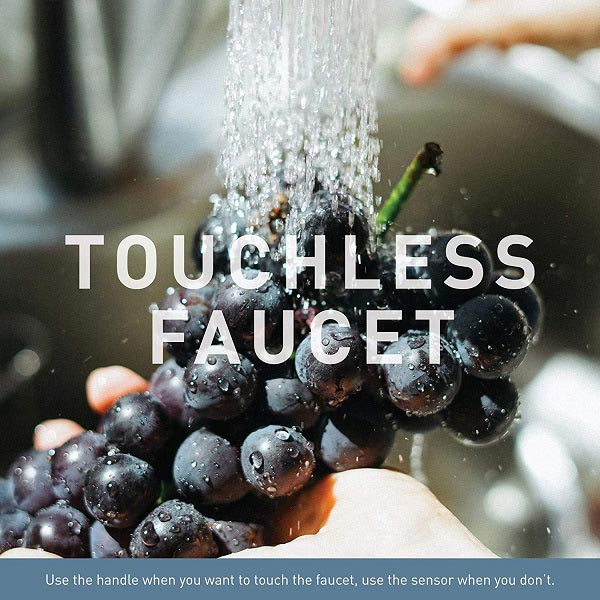Faucet touchless feature is used while washing fruits