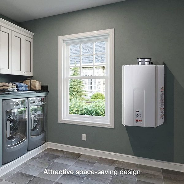 One of the best propane tankless water heater installed in the small sized laundry room