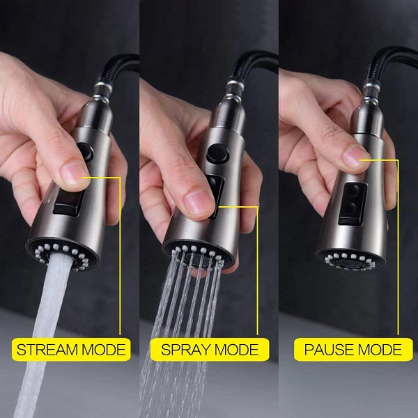One of the best pull-down kitchen faucet's stream, spray and pause mode