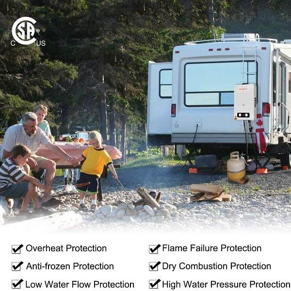 One of the best tankless water heater in a family camping site