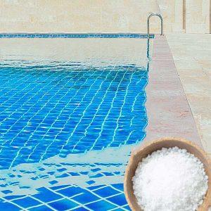 Pool salt on the pool edge